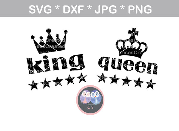 King Queen Crown Stars Digital Download Svg Dxf Cut File