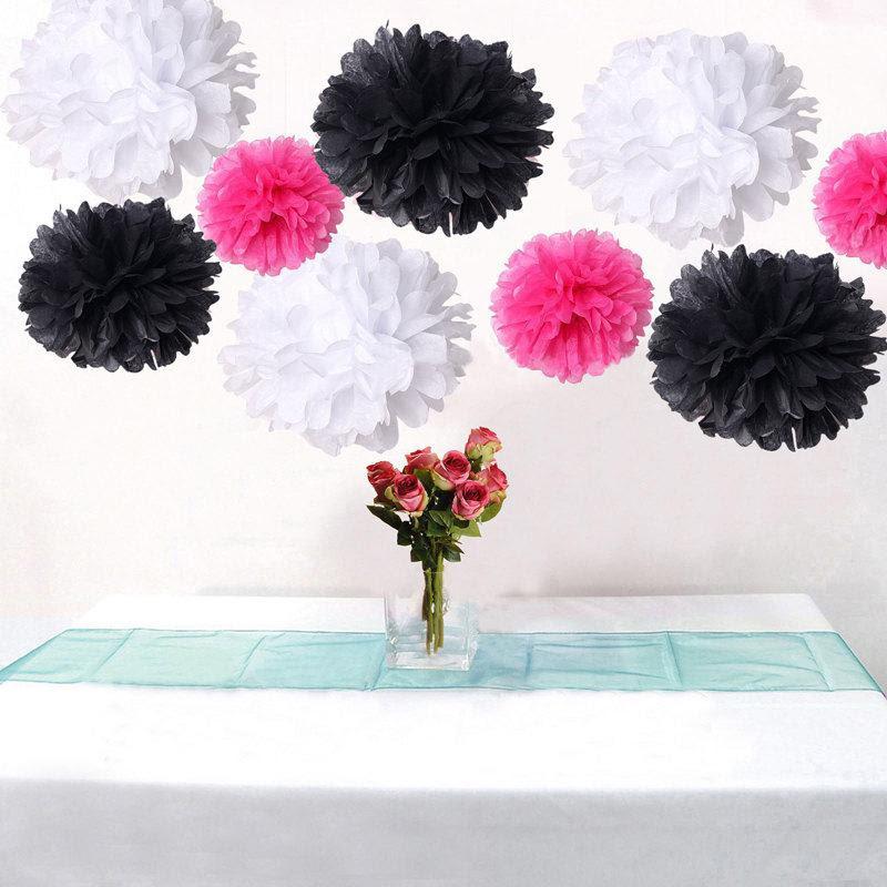 Bulk 18pcs Mixed Hot Pink Black White Diy Tissue Paper Flower Pom