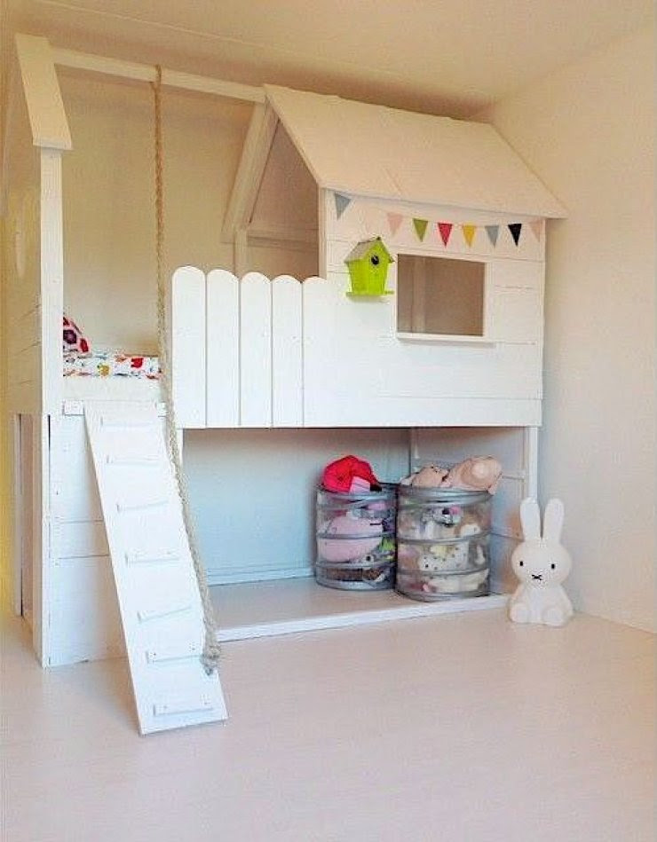 Ikea Kura bed hacked into a treehouse