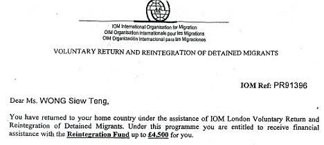 Letter offering Agnes Wong £4,500, under her Malaysian name