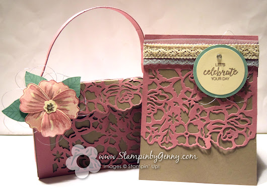 Let's Celebrate your Day Detailed Floral Thinlits dies paper purse and card