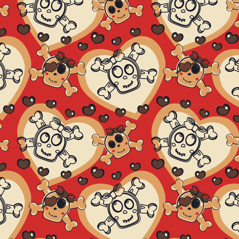 Girly Punk Skulls & Hearts Orange - eppiepeppercorn - Spoonflower