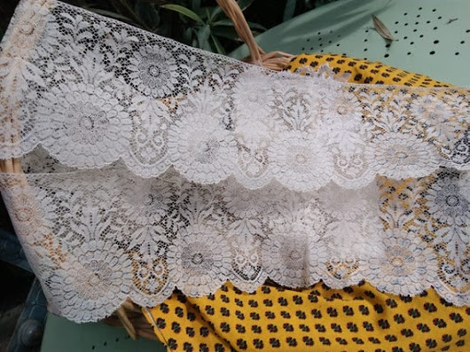 Large Unused Antique White French Cotton Floral Lace Sewing Project Bridal Lace Collectible #sophieladydeparis