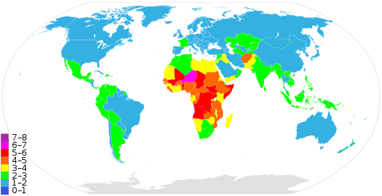 A world map showing countries by total fertility rate (TFR), according to the CIA World Factbook's 2013 data.