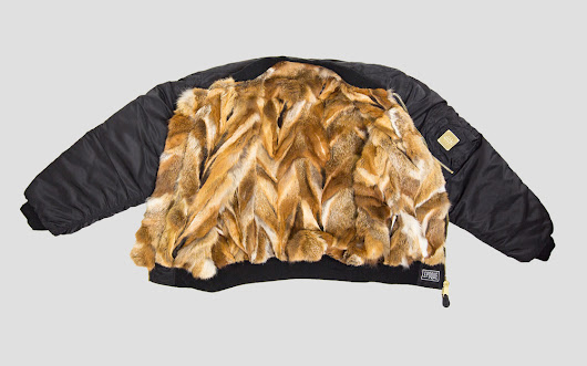 FOX - Vintage Fur Bomber Jacket black