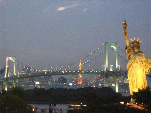 Odaiba's Statue of Liberty and the Rainbow Bridge