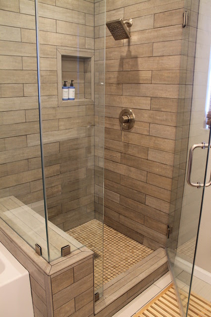 Faux Wood Tile in Modern Shower - Contemporary - Bathroom ...