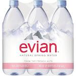 Evian Water, Natural Spring - 6 pack, 1.05 qt bottles