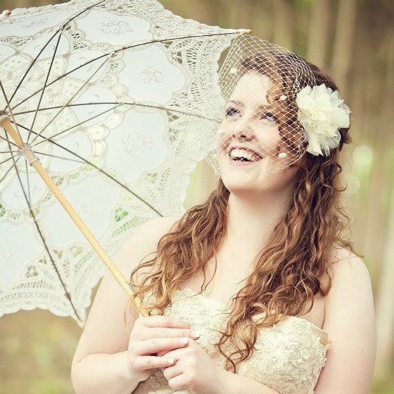 Ivory Spotted blusher Veil with Silk Dandelion Fascinator- Style 46 - ThereOnceWasAGirl