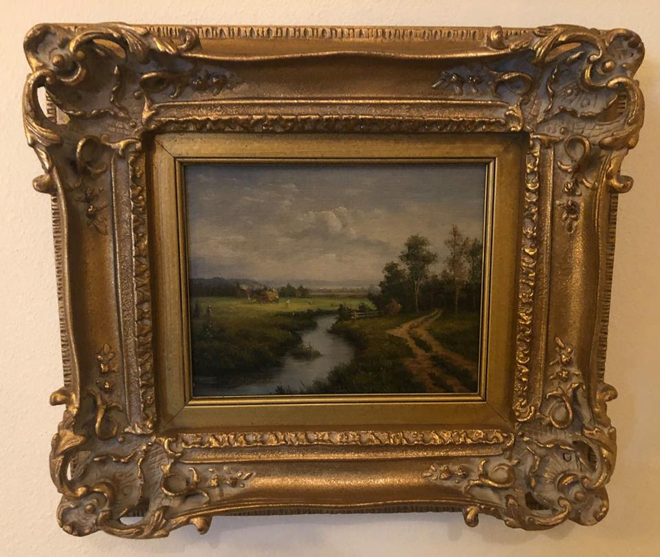 Pair Of Small Framed Oil Landscapes In Ornate Gold Frames The
