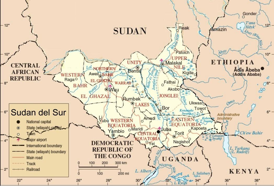 Resultado de imagen de sudán del sur mapa