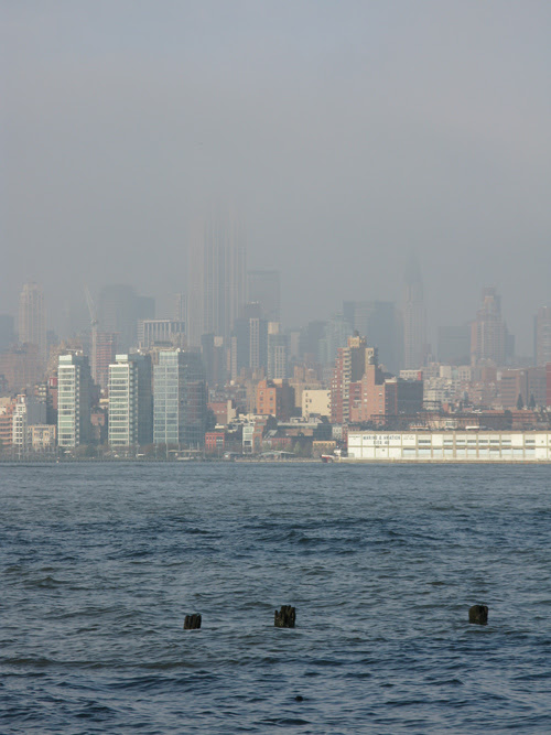 the Hudson River and half of the Empire State Building, NYC