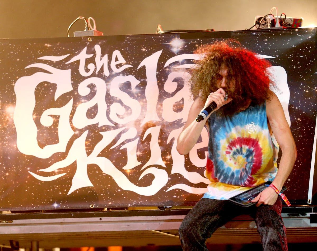 The Gaslamp Killer was dressed perfectly for a music festival.