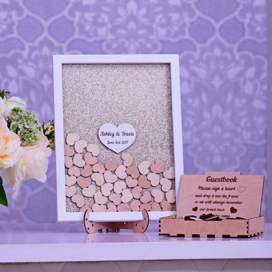 Wedding Guest Book Alternative Drop Box Guest Book Hearts Rustic