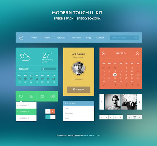 10 Super Useful Free Flat UI Kits | Freebies