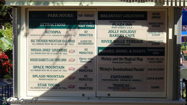 Disneyland, Wait Time Board