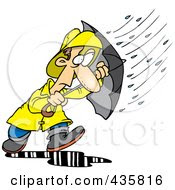 Royalty Free RF Clipart Illustration Of A Cartoon Man Caught In A Nasty Rain Storm by Ron Leishman