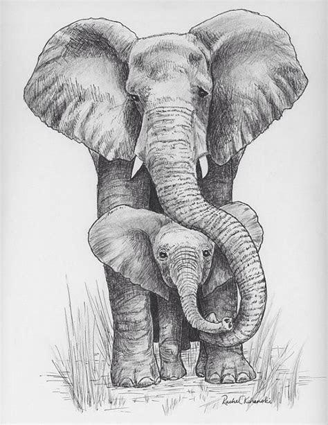 ink drawing  mama  baby elephant print
