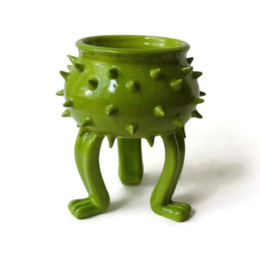 Apple Green Ceramic Grouchy Pot with Spikes  Planter by JMNPOTTERY