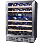 "NewAir AWR-460DB 46-Bottle Dual Zone Wine Cooler - 23.5"" - Stainless Steel/Black"