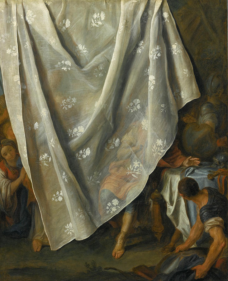 Pietro Rotari Painting - The Meeting Of Alexander The Great And Roxana Behind A Trompe-loeil Curtain by Pietro Rotari