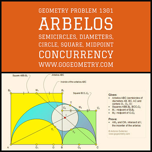 Geometric Art Typography of Geometry Problem 1301: Arbelos, Semicircles, Diameters, Circle, Incircle, Incenter, Square, Midpoint, Concurrency, iPad Apps.