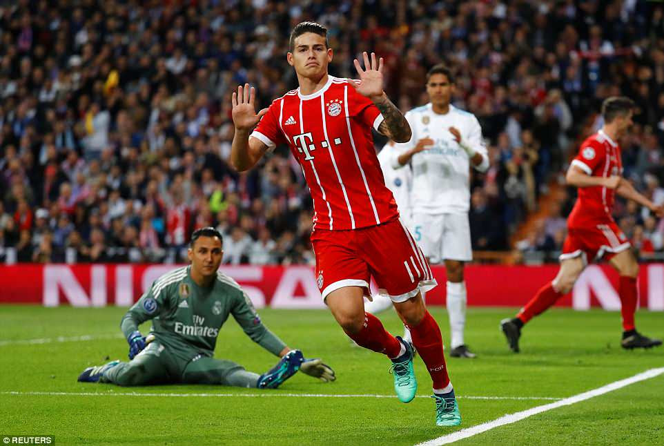 Rodriguez apologises to the Real Madrid fans as he refuses to celebrate the goal that puts Bayern Munich back on terms