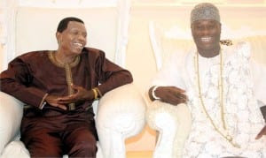 The General Overseer,  Redeemed Christian Church of God, Pastor Enoch Adeboye (left), with the Ooni of Ife, Oba Adeyeye Ogunwusi, during the cleric's  courtesy visit to the Ooni's Palace in Ile-ife, yesterday