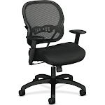 """Basyx by HON Black Mesh Managers Chair 21"""" Back Height, Arm Style: Adjustable Model: HVL712.MM10"""