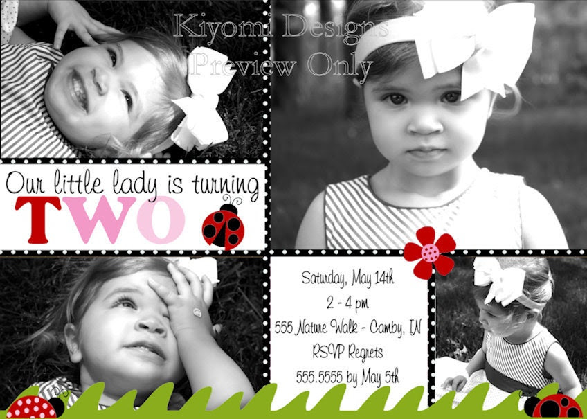 Little Ladybug Red, Pink, and Black...Any Age Custom Personalized Photo Collage Birthday Invitation -Digital File, DIY Printable File