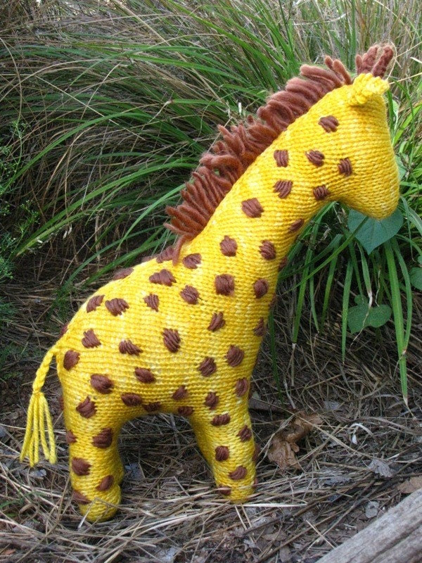 South African Giraffe Knitted Toy, Merino Yarn, Large