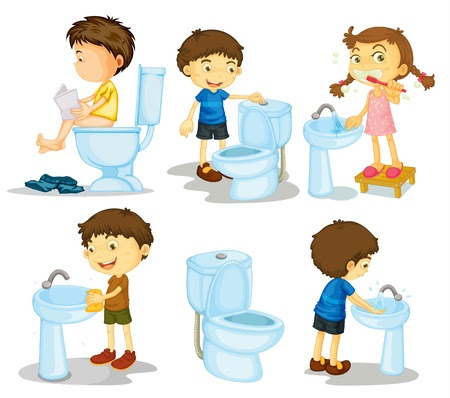 Little Boy Is Sitting On The Toilet Royalty Free Cliparts, Vectors ...