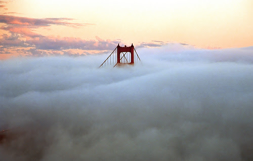 bridge and fog by John Curley