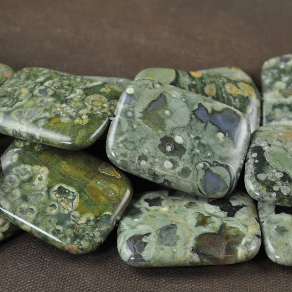 s17117 Stone Beads - 30 x 40 mm Rectangle - Rhyolite (1)