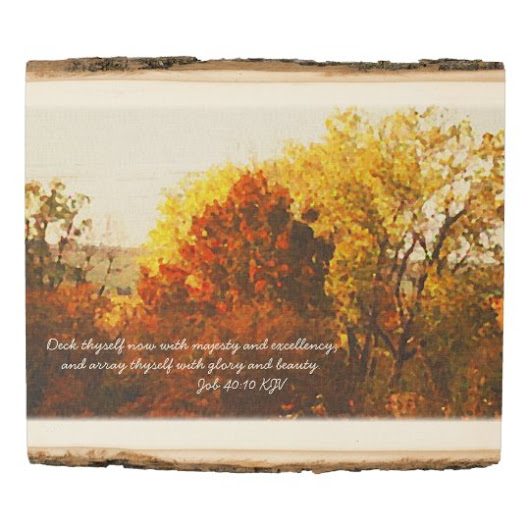 Autumn Color Trees Digital Oil with Bible Verse Wood Panel