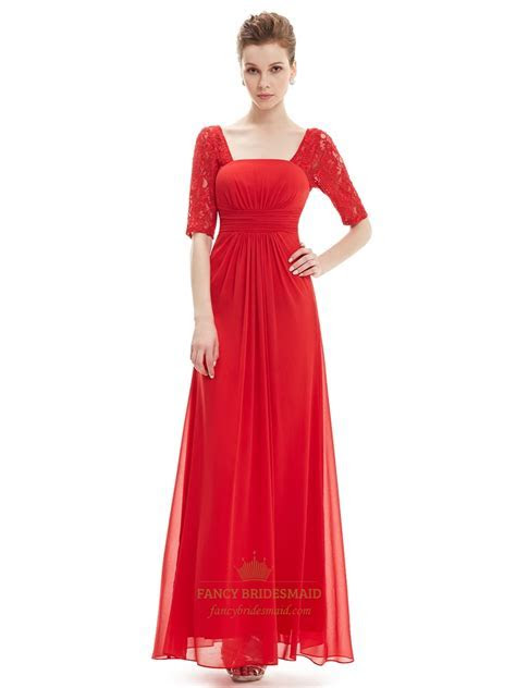 Red Chiffon Party Wedding Bridesmaid Dress With Lace