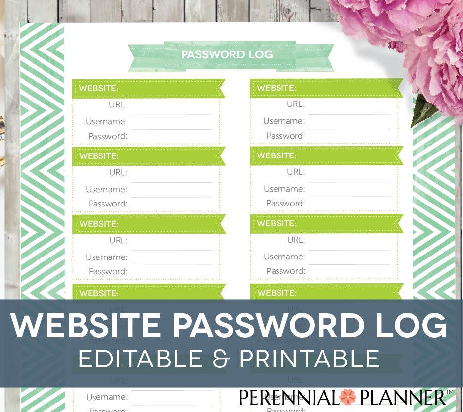 Website Password Organizer EDITABLE by PerennialPlanner on Etsy