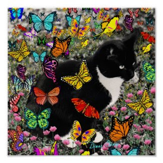 Freckles in Butterflies - Tuxedo Kitty zazzle_print