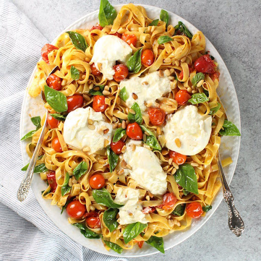 Tagliatelle with Burrata, Tomatoes, and Pine Nuts | Taste And See