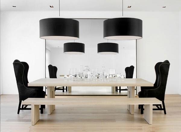 Suzie: Nicole Hollis  black eclectic minimal modern Danish dining room with light oak dining ...