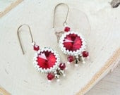 Red Beaded Earrings. White and Gold Seed Bead Jewelry on Brass. Handmade Christmas Gifts for Her - happylittlegems