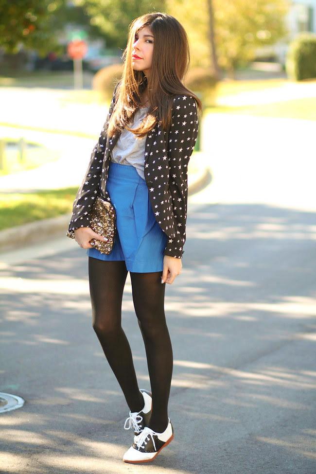 Star Print Zara Blazer, Blue Leather Skirt, Zara Sequin Clutch, Saddle shoes, Fifties Fashion, Outfit