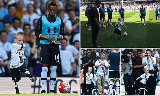Spurs fan, who lost his limbs to meningitis, enjoys kickabout at WHL