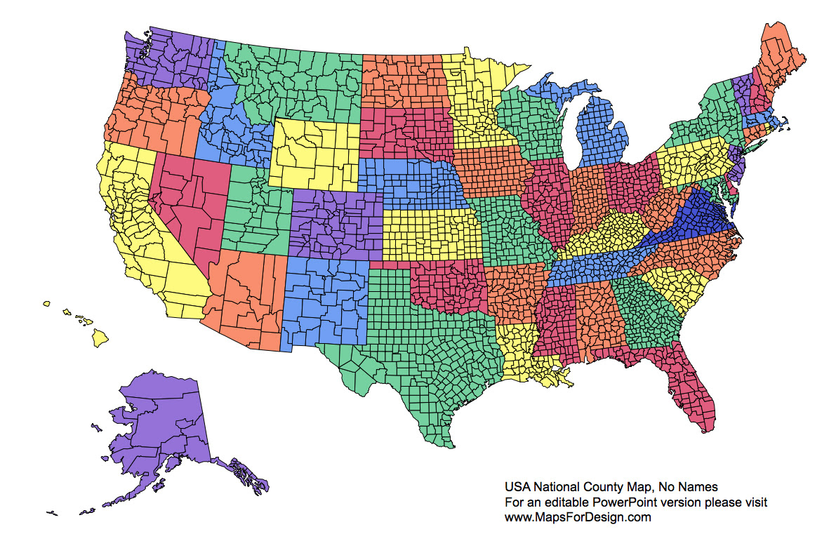 Us National County Editable County Powerpoint Map For