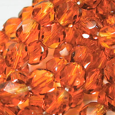 27001751-06 Firepolish - 6 mm Faceted Round - Fireopal (30)
