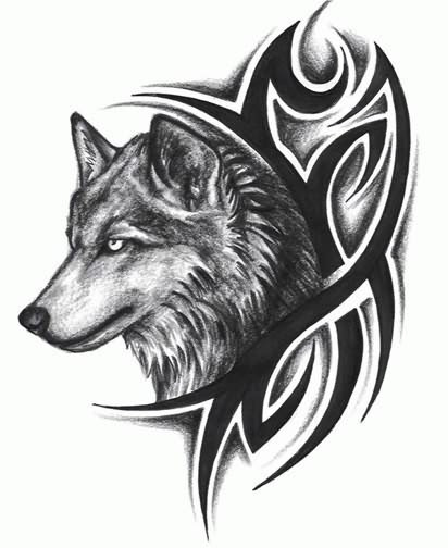 Tribal Design And Wolf Head Tattoo