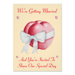 Romantic red hearts white bow wedding 5x7 paper invitation card
