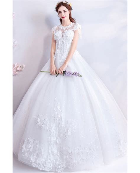 Fairy Flowers White Princess Ball Gown Wedding Dress With
