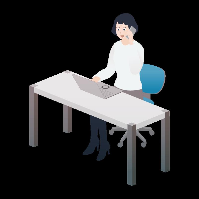 座ってpcの前で電話している 女性 のイラスト 素材 Tech Pic