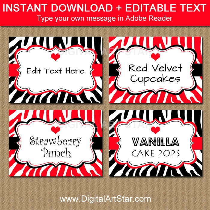 Printable Valentines Day Candy Buffet Labels - EDITABLE Valentine ...
